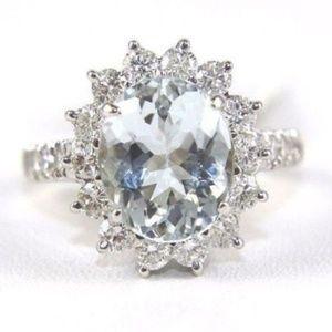 Oval Cut Aquamarine & Diamond Ring 14k WG 4.49Ct